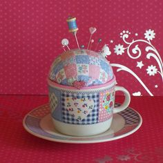 Quilted Hearts Teacup Pincushion