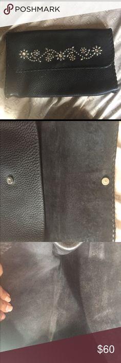 Tylie Malibu clutch Beautiful black pebbled leather, well made. sparkle (crystal)  n silver flowers Tylie Malibu Bags Clutches & Wristlets