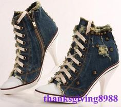 Women's Stilettos Lace Up Rivet High Heel Denim Canvas Sneakers Shoes Pumps Size