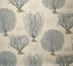 Fabric - Gorgeous sea fans. This print is also available in red and has text on it as well