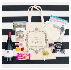 fill totes with local treats for out of town wedding guests