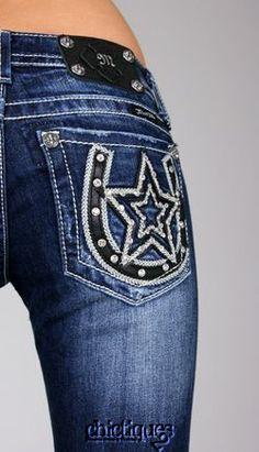 Miss Me Jeans Lady Luck Star Studded Horseshoe Denim Boot Cut JW6090B2