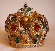 Jeweled French Antique Santos Crown Incredible