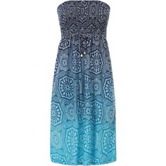 Monsoon Tokyo Jersey Bandeau Dress ($13) ❤ liked on Polyvore featuring dresses, robe, blue beach dress, floral dresses, monsoon dresses, drawstring waist dress and ombre dress