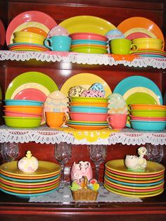 Easter Kitchen Cupboard. Pastel Fiestaware