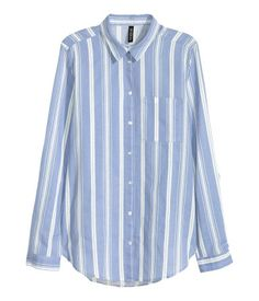 Long-sleeved shirt in airy cotton fabric with a chest pocket and rounded hem | H&M $13