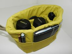 Camera Bag DSLR carrier, 10 x 8 padded camera carrier for your slr digital photography equipment Lime green  by Darby Mack. $40.00, via Etsy.