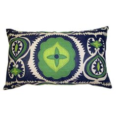 Applique Navy Suzani With Kelly Green And Lime Linen 13 X 22 Lumbar Pillow from Athens Interiors Market