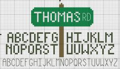 This free Cross Stitch pattern is protected by copyright laws. If someone wants a copy, please direct them to this URL - http://crossstitch.about.com/od/freecrossstitchpattern1/ig/Street-Sign-and-Alphabets/Street-Sign-Color-Symbol.htm