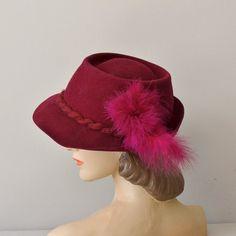 Brandywine hat / vintage 1940s felted wool hat / by DearGolden, $74.00