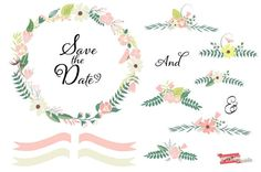 Wedding Clipart Floral Clip Art Graphic Pack by PDRPrintables, $4.50