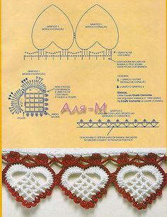 Crochet Heart Border Diagram.... Would be awesome as a valance for curtains!