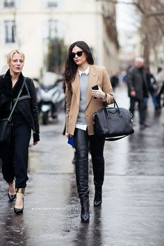 Awesome. Paris. - camel boyfriend blazer black leather pants knee high boots #streetstyle #fashion