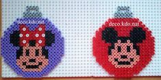 Minnie and Minnie Mouse Christmas baubles hama perler beads by Deco.Kdo.Nat