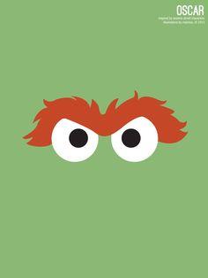 Sesame Street Oscar Illustration Poster via design. bake. run.