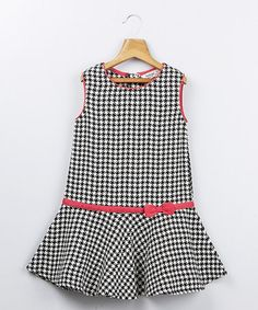 Take a look at this Black & White Houndstooth Dress by Beebay on #zulily today!