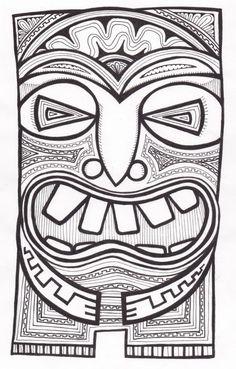 Stitchlily: How to draw a Tiki Head! Hawaiian Crafts, Hawaiian Art, African Masks, African Art, Totem Tiki, Tiki Maske, Tiki Faces, Tiki Head, Tiki Art