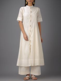 Buy Ivory Mandarin Collar Benarasi Cotton Kurta Online at Jaypore.com