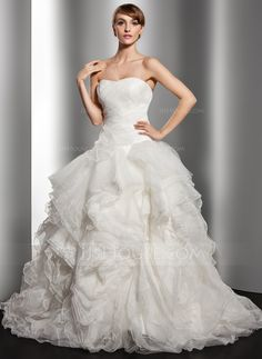 Ball-Gown Sweetheart Court Train Organza Wedding Dress With Cascading Ruffles (002014515)