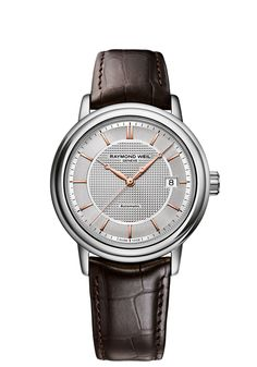 Maestro 2837-SL5-65001 Mens Watches - Automatic date Steel on leather strap silver dial rose gold PVD plated indexes and hands http://www.raymond-weil.com/en/mens-watches/watch-finder/maestro/maestro-2837-sl5-65001/