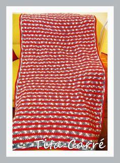 Colcha em crochet Salpicada em 3 cores