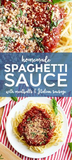 MeMe's Spaghetti Sauce with Meatballs and Sausage is a recipe based on my grandmother's recipe. She didn't measure all of her ingredients, so this is my best recreation of her famous sauce and meatballs. Pasta Recipes, Dinner Recipes, Drink Recipes, Dinner Ideas, Easy Meal Prep, Easy Meals, Homemade Spaghetti Sauce, Kitchen Recipes, Kitchen Hacks