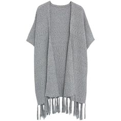 Violeta by Mango Fringed Cotton Poncho, Grey (2,285 DOP) ❤ liked on Polyvore featuring outerwear, cardigans, jackets, poncho, cotton poncho, fringe poncho, lightweight poncho, plus size poncho and grey poncho