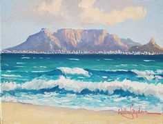Table Mountain from Blouberg Beach Painting 2 African Artwork, Mountain Pictures, Mountain Drawing, South African Artists, Table Mountain, Mountain Paintings, Art Portfolio, Large Art, Artist Painting