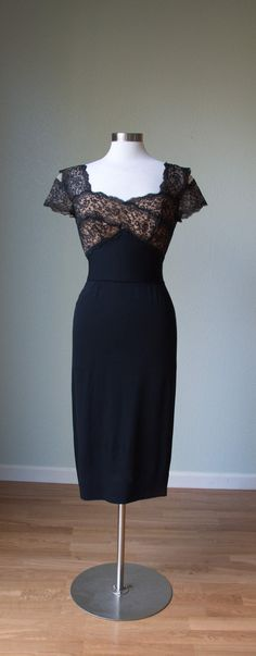 1950's Lace and Crepe Dress