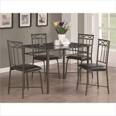Coaster Dinettes 5 Piece  Dining Set with Leg Table in Dark Metal - 150115 - Lowest price online on all Coaster Dinettes 5 Piece  Dining Set with Leg Table in Dark Metal - 150115