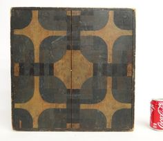 "19th c. two sided gameboard in original paint. 19"" x 19 1/2""."