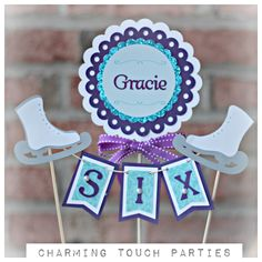 Winter / Ice Skating Birthday Cake Topper. Party Decor by Charming Touch Parties. Fully assembled and customizable. Girl/purple/ aqua by CharmingTouchParties on Etsy