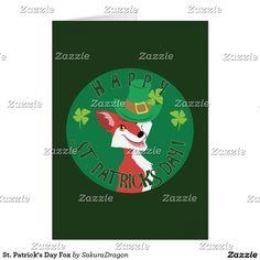 St. Patrick's Day Fox Card #fox #stpatricksday #irish #green #clover