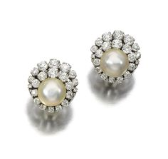 PAIR OF NATURAL PEARL AND DIAMOND EAR CLIPS