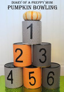 Preschool Halloween Party Games! Pumpkin Bowling! Diary of a Preppy Mom. The Blog. #pumpkin