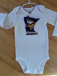 e233bcd6d Minnesota Vikings Baby Onesie 9 Mo ~ Skol Vikings ~ NEW ~ White Cotton ~  Perfect for Baby MN Vikings Fan ~ Great Gift for Minnesota Baby