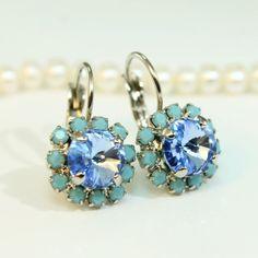 Sapphire Light blue TurquoiseAqua BlueHalo Earrings by TIMATIBO, $27.00