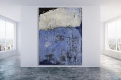 Extra grandes de color azul con textura abstracto arte pintura