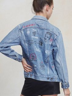 Hey sorry I'm late I didn't want to come.  The Houston Jacket is embroidered with this and a few other choice words and original artwork. It's a vintage Levi's denim jacket with red, white and black stitching and a boyfriend fit, so you've got room to move. Color and pattern may vary on this style, so no two are exactly alike. Made from vintage Levi's jacket.
