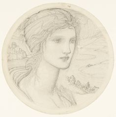 Artist  Sir Edward Coley Burne-Jones, Bt (1833‑1898)  Title  Roundel with the Head of a Woman  Date circa 1870-5