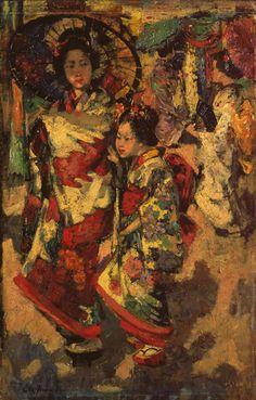 Two Geisha Girls 1894 (oil painting) HORNEL, Edward Atkinson; (Scottish; 1864-1933)