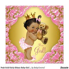 Pink Gold Girly Ethnic Baby Girl Teddy Bear 5.25x5.25 Square Paper Invitation Card
