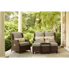 Brown Jordan Vineyard Patio Loveseat with Meadow Cushions and Aphrodite Spring Lumbar Pillows -- STOCK D11097-LV at The Home Depot - Mobile
