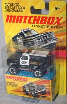 2011 Matchbox Lesney Edition 1989 CHEVY BLAZER Monc Blue County police SHERIFF black and white by Mattel, http://www.amazon.com/dp/B004QQ8RVS/ref=cm_sw_r_pi_dp_7wm6qb0KA91KS