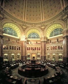 Main Reading Room, Thomas Jefferson Building, Library of Congress. Beautiful Library, Dream Library, Library Of Congress Photos, American Library Association, Reading Room, Washington Dc, Places To See, Around The Worlds, Tours