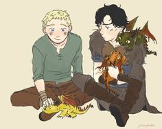Sherlock and John with dragons