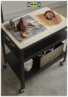 Looking for a kitchen trolley idea? The IKEA BROR steel trolley with wooden top can be used for storage or as a kitchen island. Ikea Kitchen Trolley, Kitchen Island Hack, Ikea Kitchen Cabinets, Swedish Interior Design, Swedish Interiors, Ikea Kitchen Organization, Ikea Interior, Pine Plywood, Artists