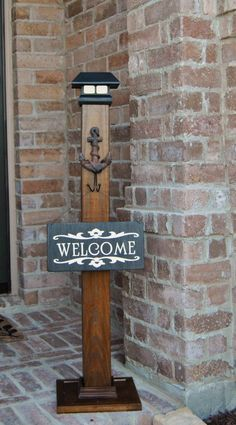 Sign Post Porch Post Wood Sign PostSolar by KristinasKraftshop