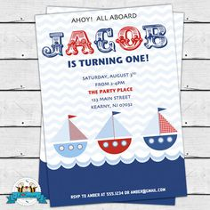 Printable Nautical Boat Birthday Party Invitations  Super cute invitations for your nautical themed party