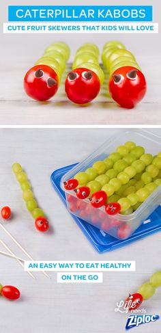 Caterpillar kabobs are cute fruit skewers kids will love. It's an easy idea for eating healthy on the go. To make these bugs, just stack grapes and a cherry tomato on a stick and add chocolate chip eyes with a touch of frosting. They are great as snacks, packed in a Ziploc® container, or added to a bento box or lunch box. It's fun and easy for picky eaters to help make their own homemade fruit snacks and share with friends at soccer practice, baseball games, beach days and birthday parties.